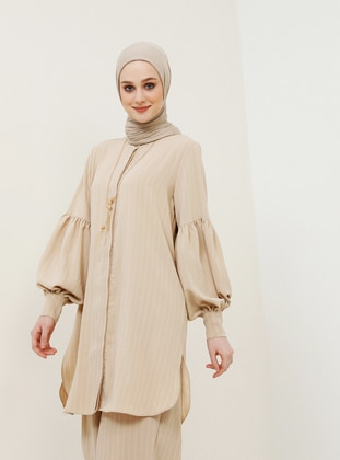Hidden Button StripedTunic with Necklace - Beige