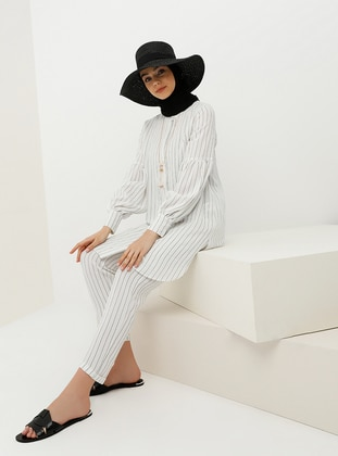 Hidden Button Striped Tunic with Necklace - White