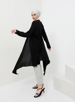 Black - Unlined - Shawl Collar - Topcoat