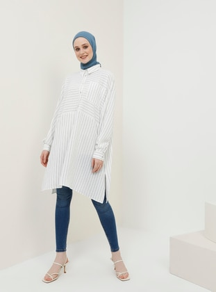 White - Stripe - Button Collar - Tunic