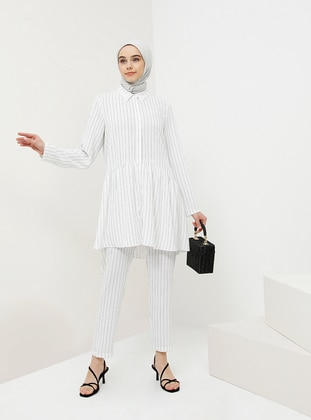 Black - White - Ecru - Stripe - Point Collar - Tunic