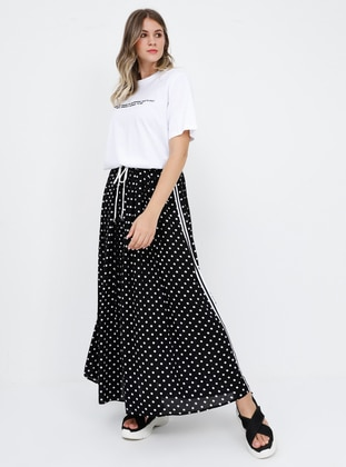 Black - White - Polka Dot - Unlined - Viscose - Plus Size Skirt