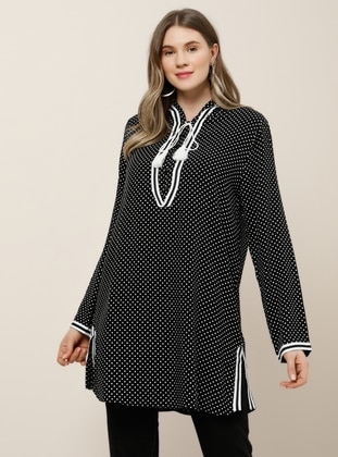 White - Black - Polka Dot - Viscose - Plus Size Tunic