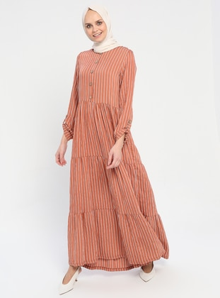 Brown - Stripe - Crew neck - Unlined - Viscose - Dress