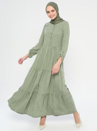 Green Almond - Stripe - Crew neck - Unlined - Viscose - Dress