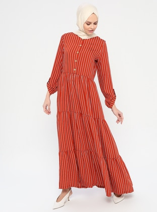 Terra Cotta - Stripe - Crew neck - Unlined - Viscose - Dress