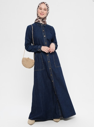 Navy Blue - Unlined - Point Collar - Cotton - Denim - Abaya