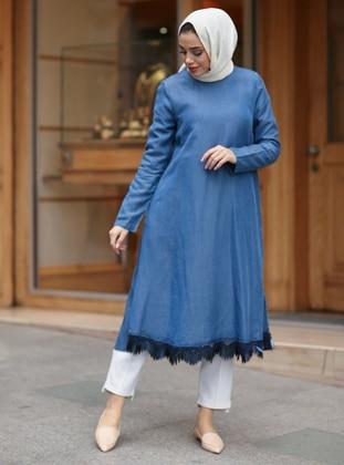 Blue - Crew neck - Cotton - Denim - Tunic