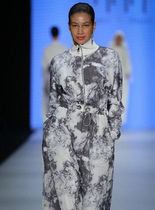 Ecru - Multi - Polo neck - Fully Lined - Cotton - Dress - Muni Muni