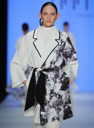 Ecru - Multi - Unlined - Shawl Collar - Abaya - Muni Muni