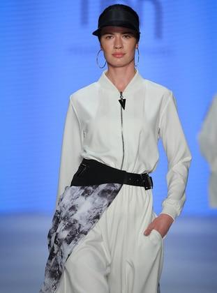 Ecru - Unlined - V neck Collar - Jumpsuit - Muni Muni