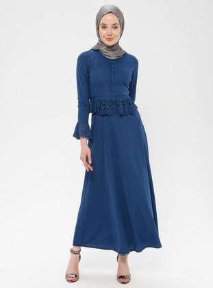 Blue - Indigo - Crew neck - Unlined - Dress