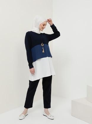 White - Navy Blue - Saxe - Crew neck - Tunic