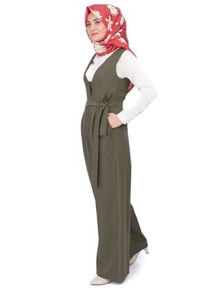 Khaki - Unlined - V neck Collar - Jumpsuit