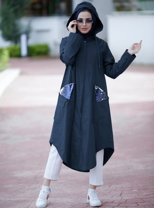 Navy Blue - Fully Lined - Cotton - Trench Coat
