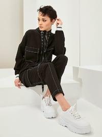 Black - Stripe - Cotton - Pants - Muni Muni