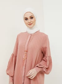 Hidden Button StripedTunic with Necklace - Powder