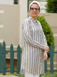 Yellow - Navy Blue - Stripe - Point Collar - Cotton - Acrylic - Blouses