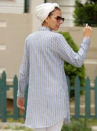 Blue - Black - Stripe - Point Collar - Cotton - Acrylic - Blouses
