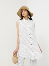 White - Ecru - Stripe - Point Collar - Tunic