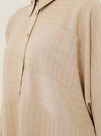 Beige - Stripe - Button Collar - Tunic