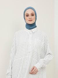 White - Stripe - Button Collar - Tunic