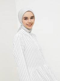 Black - White - Ecru - Stripe - Point Collar - Tunic