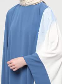 Blue - Navy Blue - Indigo - Unlined - Crew neck - Abaya