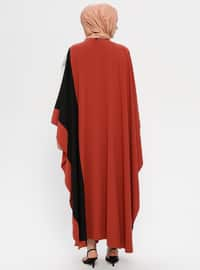 Black - Tan - Unlined - Crew neck - Abaya