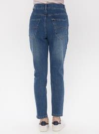 Blue - Navy Blue - Cotton - Denim - Pants