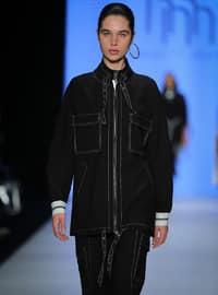 Black - Stripe - Unlined - Crew neck - Cotton - Jacket - Muni Muni
