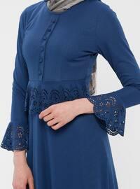 Blue - Indigo - Crew neck - Unlined - Dress - ZENANE