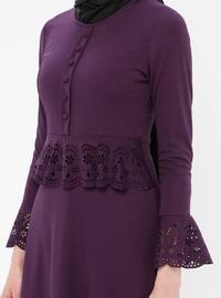 Purple - Crew neck - Unlined - Dress - ZENANE