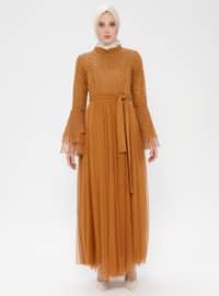 Mustard - Fully Lined - Crew neck - Muslim Evening Dress