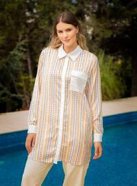 Ecru - Multi - Multi - Point Collar - Plus Size Tunic