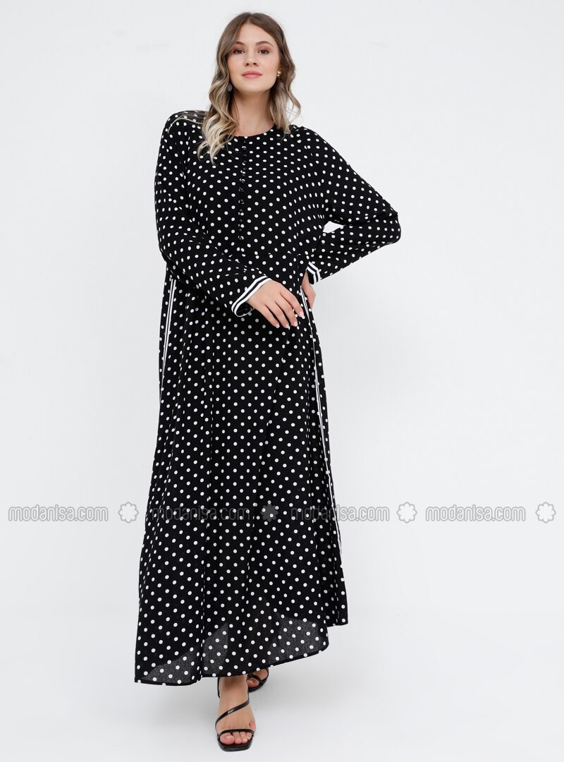 White - Black - Polka Dot - Unlined - Crew neck - Viscose - Plus Size Dress
