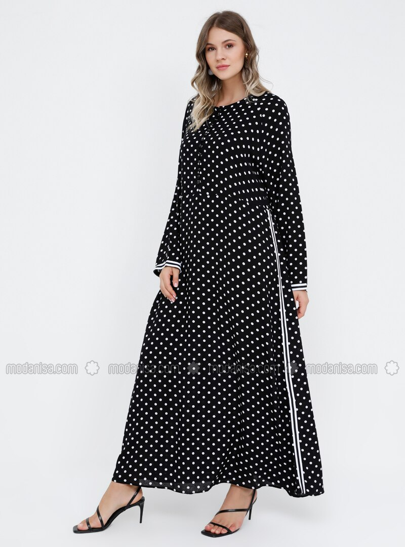 White - Black - Polka Dot - Unlined - Crew neck - Viscose - Plus Size Dress