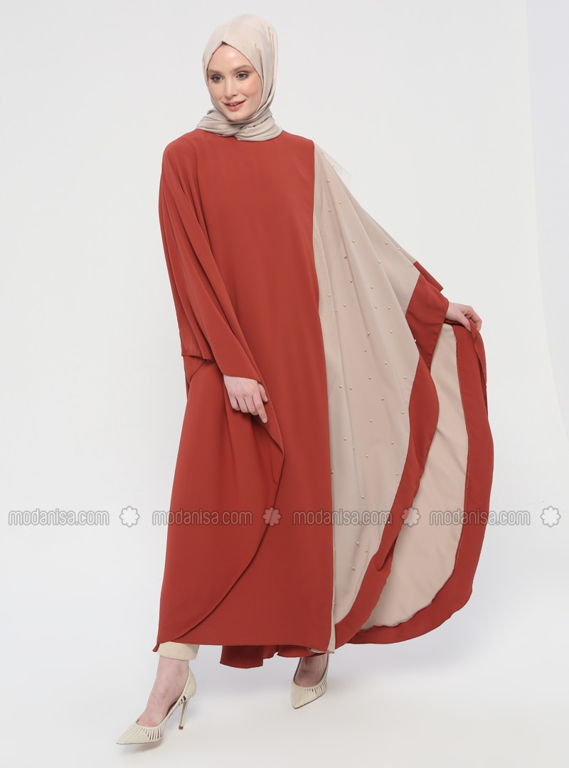 Tan - Unlined - Crew neck - Abaya