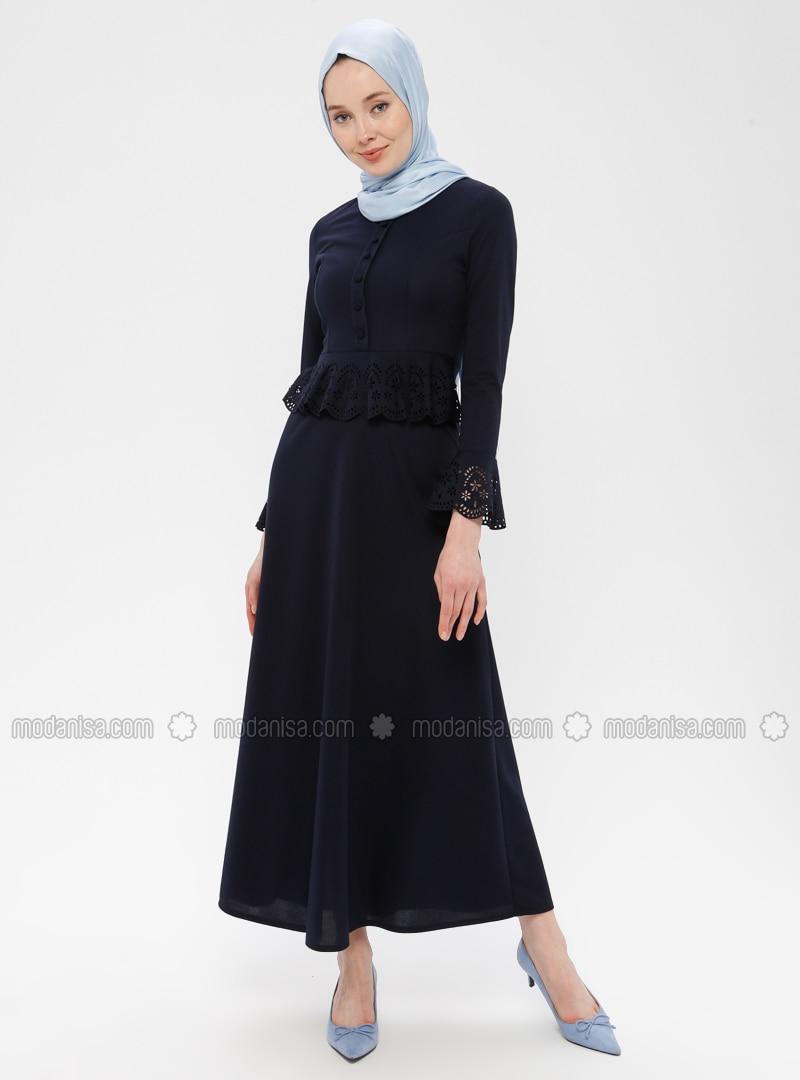 Navy Blue - Crew neck - Unlined - Dress - ZENANE