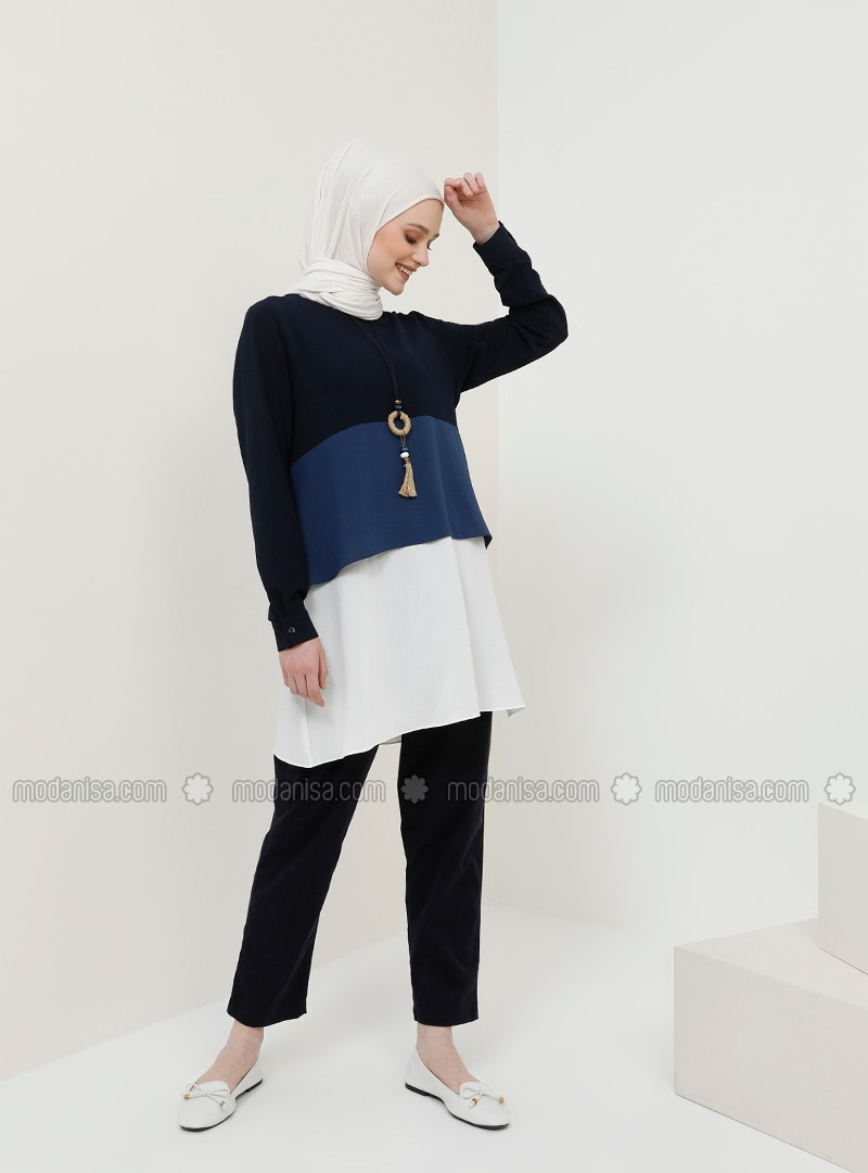 White - Navy Blue - Saxe - Crew neck - Tunic