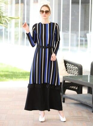 Saxe - Stripe - Crew neck - Unlined - Dress