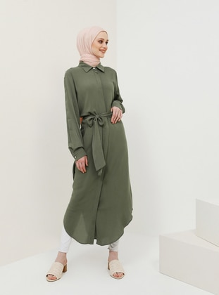 Khaki - Point Collar - Unlined - Viscose - Dress