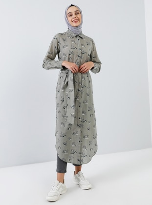 Green - Point Collar - Unlined - Viscose - Dress