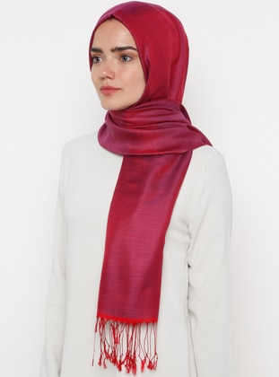 Maroon - Plain - Silk Blend - Cotton - Shawl