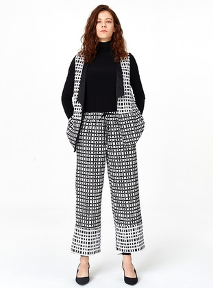 Black - White - Checkered - Shawl Collar - Vest
