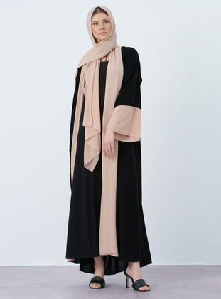 Black - Camel - Unlined - Shawl Collar - Abaya