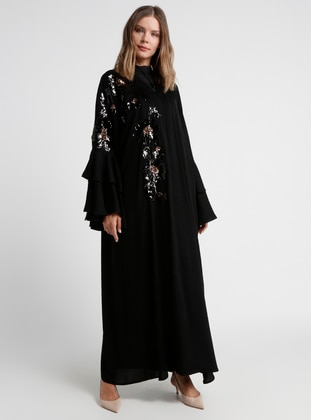 Black - Floral - Unlined - Shawl Collar - Abaya