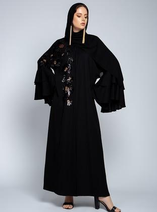 Black - Floral - Unlined - Shawl Collar - Abaya