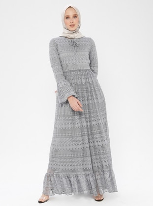 Gray - Crew neck - Fully Lined - Dress