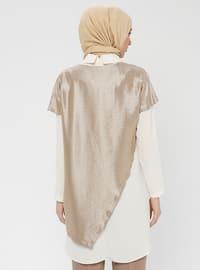 White - Ecru - Gold - Round Collar - Crew neck - Tunic